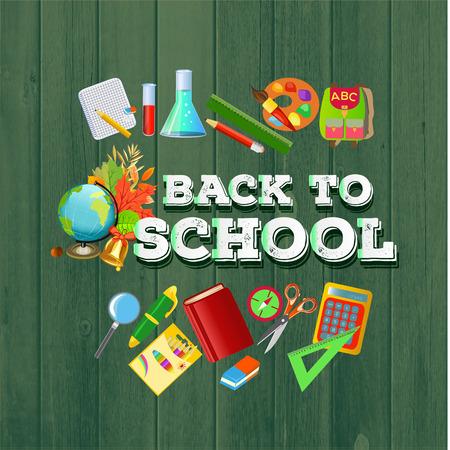 Back to school Schild mit Schule supplies.The auf dem Holz Hintergrund der Schule-Icons gesetzt.