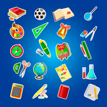 The set of school icons on the background. Vector illustration