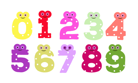0 9: the numbers in fun in the style of children. from 0 to 9. Vector illustration