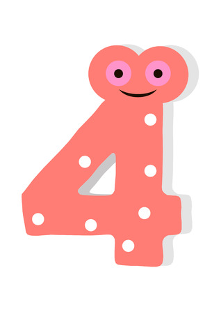 the number in fun in the style of children. It is 4. Vector illustration