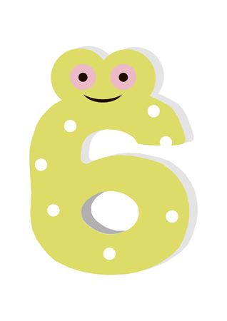 the number in fun in the style of children. It is 6. Vector illustration