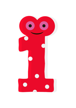 the number in fun in the style of children. It is 1. Vector illustration