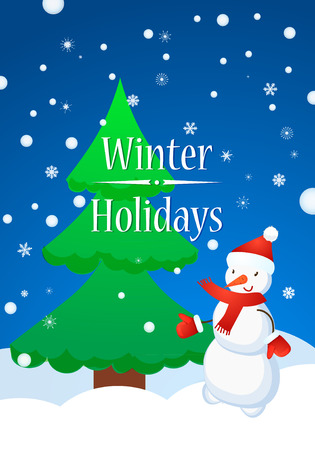Snowman and Fur Tree in winter. Snowflakes Winter Happy Poster Concept