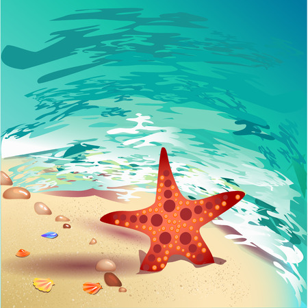 Welcome to the beach poster. Promo travel illustration. The strip of land along the sea coast with shells, starfish and seething foam.