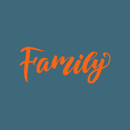 Vector calligraphy. Family poster or card. Orange Letters on the blue Background Illustration