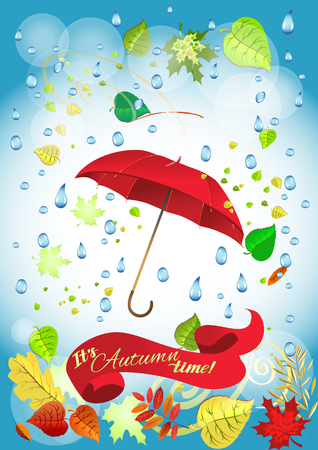 damp: Autumn leaves background, can be use as banner or poster. Vector illustration. Design elements. Illustration