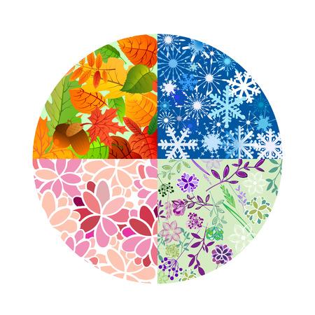 Iconos de la temporada. Cuatro estaciones del año. Ilustración del vector. Foto de archivo - 66696155