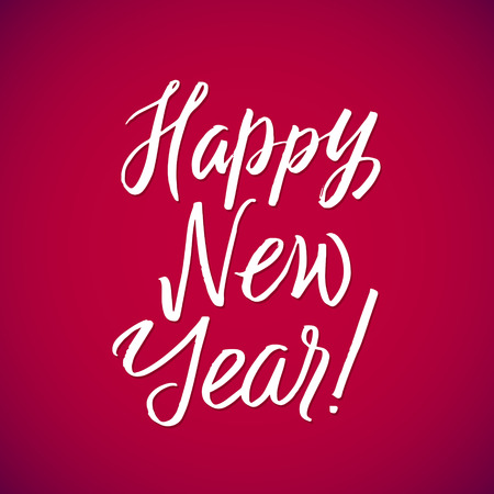 hand lettering: Happy Neew Year - vector hand lettering red background. Illustration