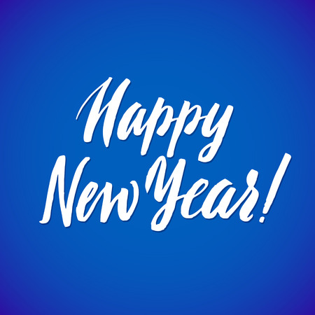 hand lettering: Happy Neew Year - vector hand lettering blue background.
