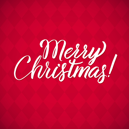hand lettering: Merry Christmas - vector hand lettering red background.