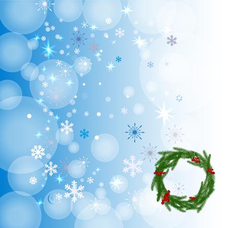 Winterhintergrund mit Kranz und Schneeflocken. Kann Gebrauch als Fahne oder Poster sein Auch im corel abgehobenen Betrag.