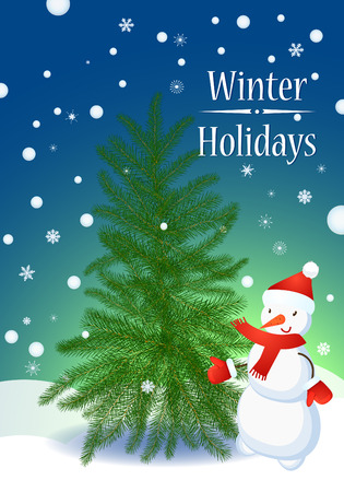 fur tree: Snowman and Fur Tree in winter. Snowflakes Winter Happy Poster Concept.