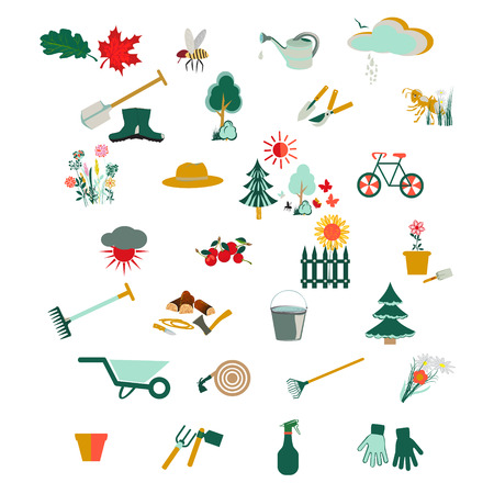 gumboots: Gardening icon set, Garden and orchard collection tools and decoration, isolated on white background. Vector illustration.
