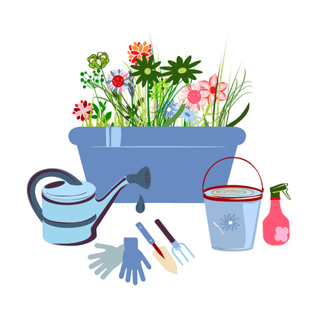 Gardening icon set, Garden and orchard collection tools and decoration, isolated on white background. Vector illustration.