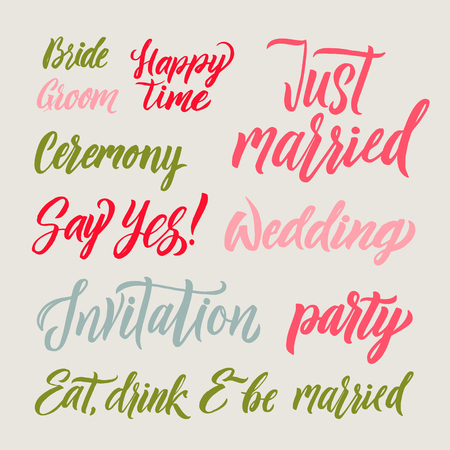A Vector set for design wedding invitations, photo overlays and cards with hand drawn lettering.