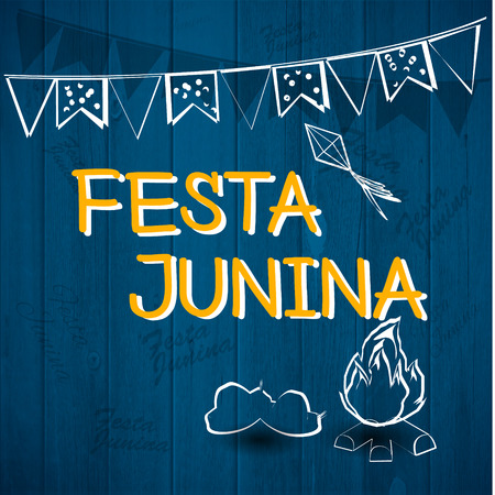 thatched: Festa Junina Brazil Topic Festival. Folklore holiday. Festival fire attributes, flags on a color background.