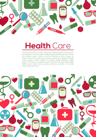 PrintMedical Flyer Background. Health Care Concept. Take care and be heathy! Medical icons Vector Flat Illustration Pastel Colors. Illustration