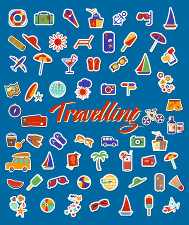 Travel beach flat background. Flat design style modern vector illustration icons set of traveling on airplane, planning a summer vacation, tourism and journey objects and passenger