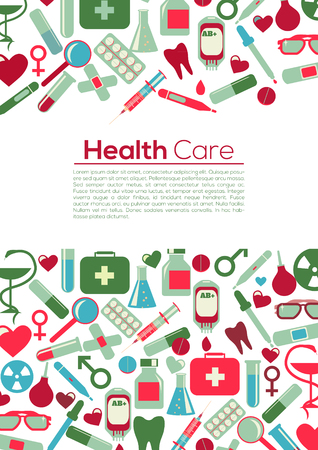 PrintMedical Flyer Background. Health Care Concept. Take care and be heathy! Medical icons Vector Flat Illustration Pastel Colors