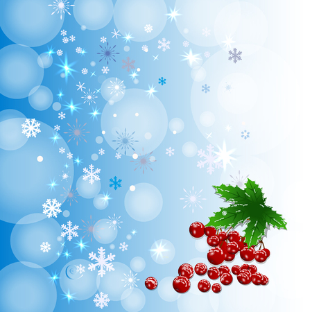 Winter background with colour snowflakes. Can be use as banner or poster.Vector illustration. Illustration