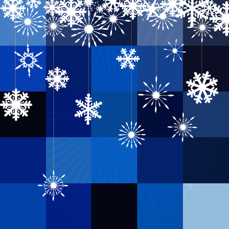 Winter background with figure skates and snowflakes. Can be use as banner or poster.Vector illustration.
