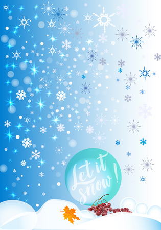 Vector calligraphy. Winter poster or card. White Letters on the blue background .Vector illustration 免版税图像