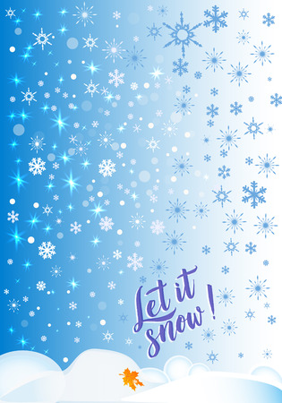 Vector calligraphy. Winter poster or card. The Letters on the blue background .Vector illustration.