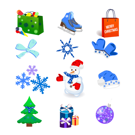 Winter icon set, isolated on the white background. Vector illustration