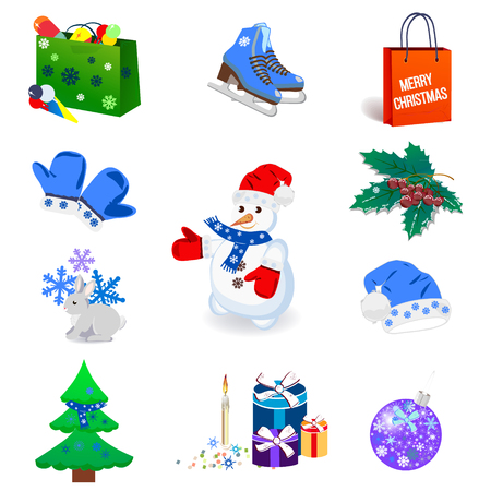 Winter icon set, isolated on the white background. Vector illustration.