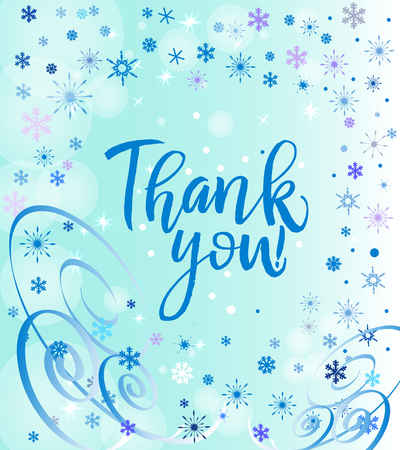 A Vector calligraphy Thank you poster or card. Blue Letters on the blue Background