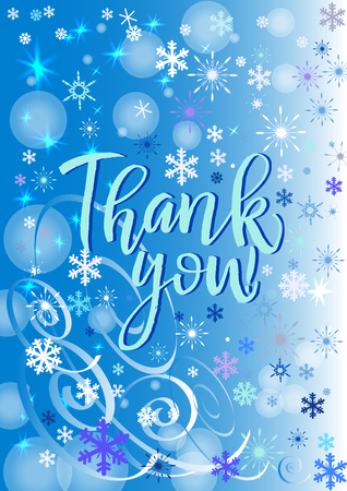 Thank you poster or card. Blue Letters on the blue Background