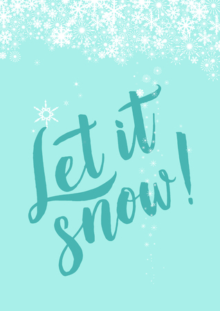 Winter poster or card green letters calligraphy.