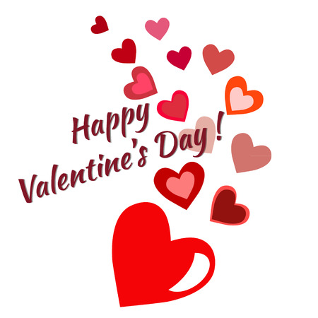 Happy Valentines Day Card Vector Flyer Background With Hearts