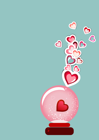 Happy Valentines Day card, Flyer background with hearts.