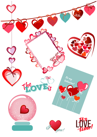Happy valentines day card. Heart banner, frame, flyer background with hearts.