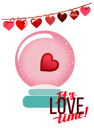 Valentine's day greeting card template with hanging hearts designs. Illustration