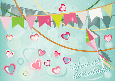 Happy valentines day card. Flyer background with hearts.
