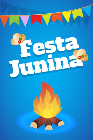 Festa Junina Brazil Topic Festival. Folklore holiday. It is a vector illustration. Çizim