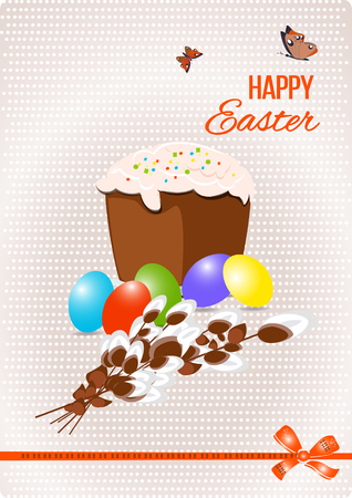 Happy easter Greeting Card. Vector illustration is.
