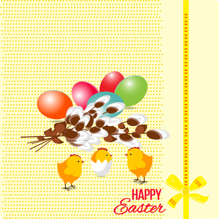Happy easter Greeting Card. A lot of Easter eggs on the background.