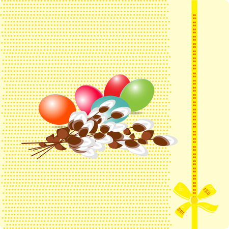 Greeting Card with colorful eggs on a yellow background.