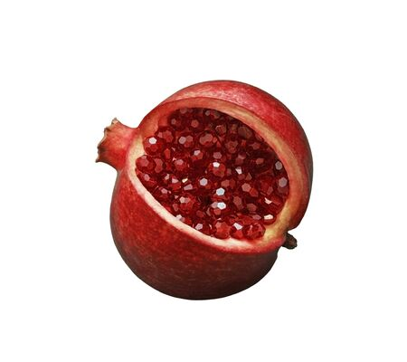 Beautiful red sliced pomegranate on a white isolated background. Pomegranate fruit with red shiny garnet beads instead of seeds and grains. Macro, close up, abstraction. Jewelry unusual fruit.