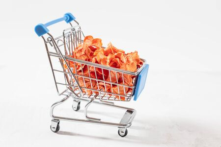 Dried carrot chips in a toy grocery cart on a white background. Organic natural food. Concept vegan shopping. Copy space.