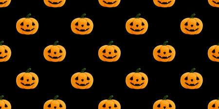 Seamless pattern with Halloween pumpkin on black background. Jack's head background. Toy Halloween pumpkin made of wool. Concept for packaging design.