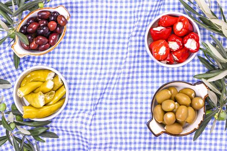 Traditional appetizers, green and red olives from Greek cuisine. Fresh branches of olives. Copy space. Above. Blue checkered tablecloth