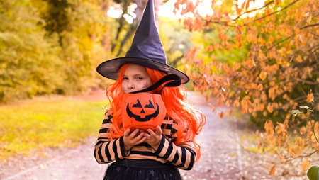 Little girl dressed as a witch with a candy bar in an autumn park. Happy Halloween holiday. The focus is soft shifted on the main object. Copy space. High quality photo