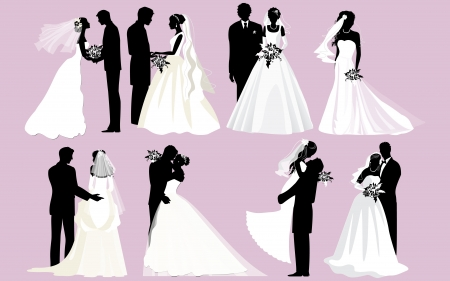 outline wedding: Bride and groom silhouettes  Illustration