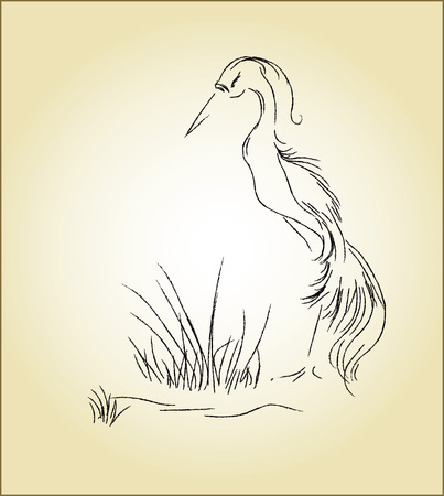 swamp: Vector illustration of a heron in the swamp