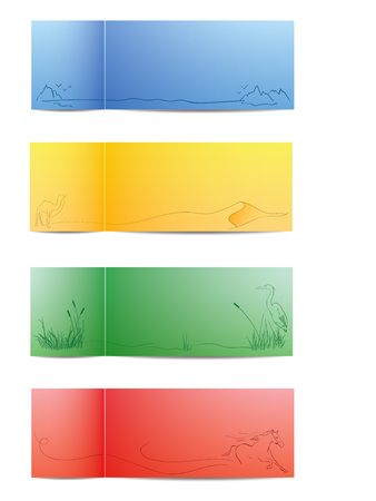 running camel: Four vector colorful nature cards