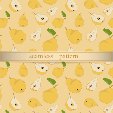 pears: Pears seamless pattern on the orange background. Vector illustration